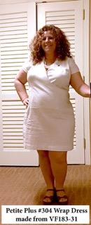 Wrap Dress in white cotton/linen.