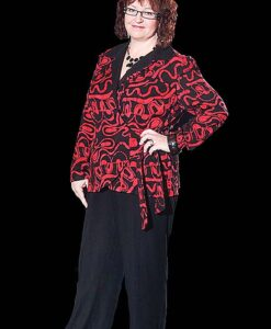 Wrap Jacket and Blouse, Flat Front Pant
