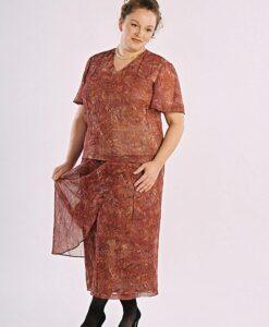 Short Sleeve Shell, Straight Skirt