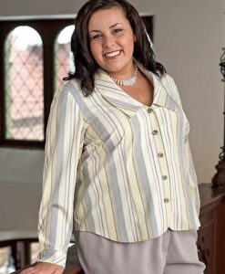 Wrist-length, 2-piece sleeved blouse with fast-cuff and rounded collar made from Petite Plus Patterns #106 Shapely Blouse and cotton poplin shirting.