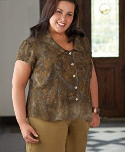 Cap-sleeve blouse with rounded collar made from View A- Petite Plus Patterns #106 Shapely Blouse and batik rayon.