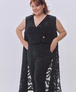 Tuxedo Wrap Vest, Tunic Length Vest, Flat Front Pant