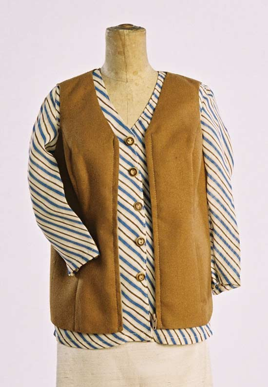 Shapely Zip Front Vest, Button Front Blouse, Straight Skirt