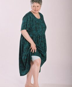 Model in teal dress and stretch knicker made from Petite Plus Patterns 301 Easy Dress