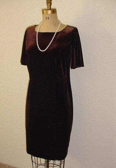 Petite Plus Patterns 303 All Season Dress, flounce-sleeve version in brown stretch-velvet