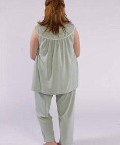 Model in cozy sleep top & pant made from Petite Plus Patterns 401 Nightgown PJs, back view