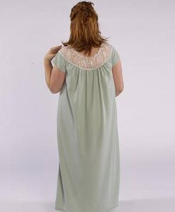 Model in cozy sleepwear gown made from Petite Plus Patterns 401 Nightgown PJs, back view