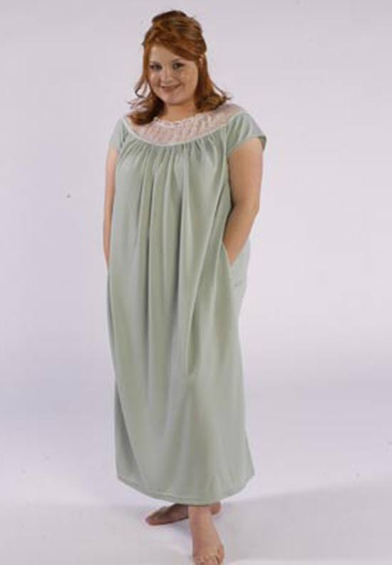 Model in cozy sleepwear gown made from Petite Plus Patterns 401 Nightgown PJs
