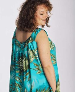 Model wearing beach dress in blue rayon made from Petite Plus Patterns 401 Nightgown PJs