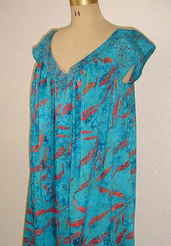 Beach dress in teal rayon made from Petite Plus Patterns 401 Nightgown PJs