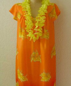 Beach dress in orange rayon made from Petite Plus Patterns 401 Nightgown PJs