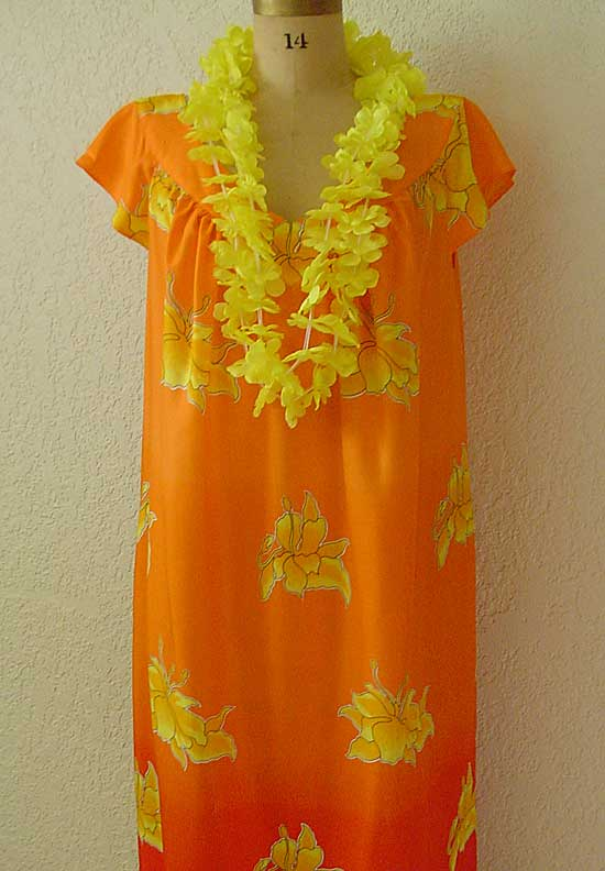 ebb22af0374 Beach dress in orange rayon made from Petite Plus Patterns 401 Nightgown PJs