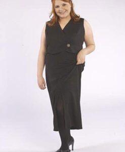 Straight Skirt, Tuxedo Wrap Vest