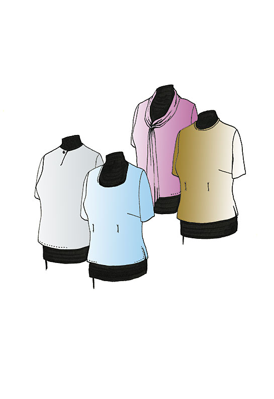 Illustration, Petite Plus Patterns 101, Short Sleeve Shell, four necklines