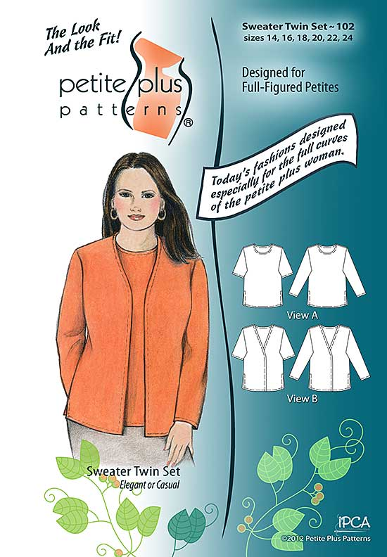 Cover, Petite Plus Patterns 102 Sweater Twin Set, size 14-24, illustration, flats, Designed for Full-figured Petites