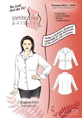 Cover, Petite Plus Patterns 104 Shapely Shirt, size 14-24, illustration, flats, Designed for Full-figured Petites