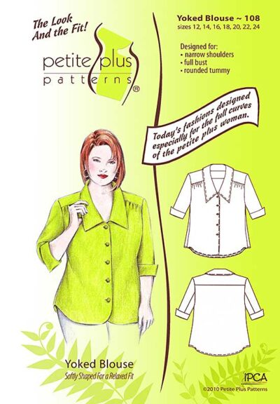 Cover, Petite Plus Patterns 108 Yoked Blouse, size 12-24, illustration, flats, Designed for Narrow Shoulders, Full Bust