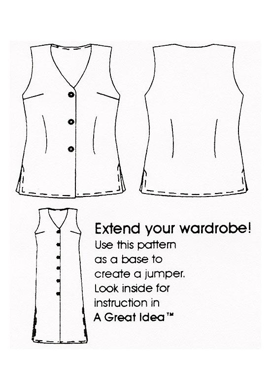Flats, Petite Plus Patterns 151 Tunic Length Vest, two lengths