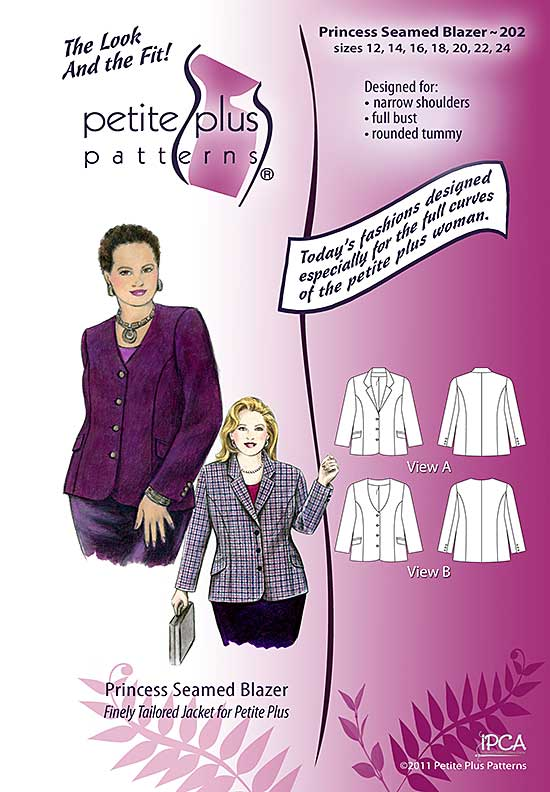 Cover, Petite Plus Patterns 202 Princess Seamed Blazer, size 12-24, illustration, flats, Designed for Narrow Shoulders, Full Bust