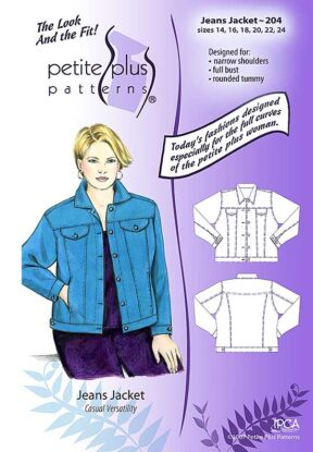 Cover, Petite Plus Patterns 204, Jeans Jacket, size 14-24, designed for full-figured petites, narrow shoulders, full bust, illustration, flats