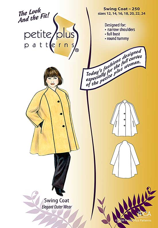 Cover, Petite Plus Patterns 250, Swing Coat, size 12-24, designed for full-figured petites, narrow shoulders, full bust, illustration, flats