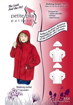 Cover, Petite Plus Patterns 251, Walking Jacket, size 12-24, designed for full-figured petites, narrow shoulders, full bust, illustration, flats