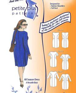 Cover, Petite Plus Patterns 303, All Season Dress, size 12-24, designed for full-figured petites, narrow shoulders, full bust, three sleeve styles, illustration, flats