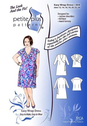 Cover, Petite Plus Patterns 304, Easy Wrap Dress, size 12-24, designed for narrow shoulders and full bust, illustration, flats