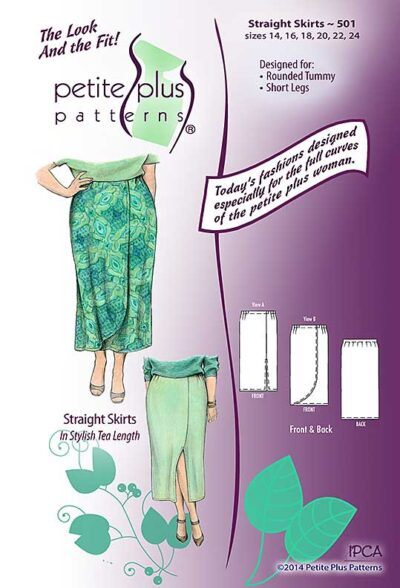 Cover, Petite Plus Patterns 501, Straight Skirts, size 14-24, designed for full-figured petites, illustration, flats, in tea length