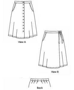 Button-front Flared Skirt, Wrap Skirt