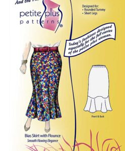 Cover, Petite Plus Patterns 504, Bias Skirt with Flounce, size 14-24, designed for full-figured petites, illustration, flats, in tea length