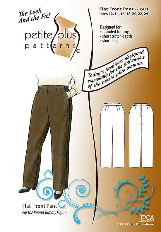 Cover, Petite Plus Patterns 601, Flat Front Pant, size 12-24, designed for full-figured petites, straight legged pant with part elastic waist, illustration, flats