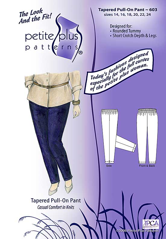 Cover, Petite Plus Patterns 603, Tapered Pull-on Pant, size 14-24, designed for full-figured petites, illustration, flats