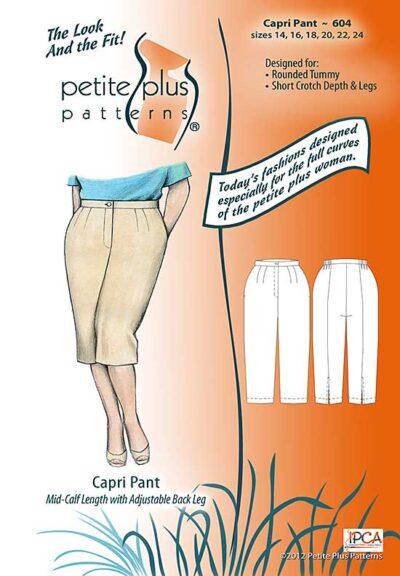 Cover, Petite Plus Patterns 604, Capri Pant, size 14-24, designed for full-figured petites, illustration, flats