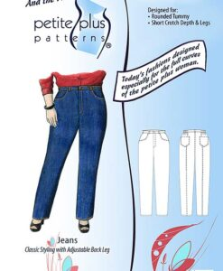 Cover, Petite Plus Patterns 605 Jeans, size 14-24, illustration, flats, Classic Styling with Adjustable Back leg
