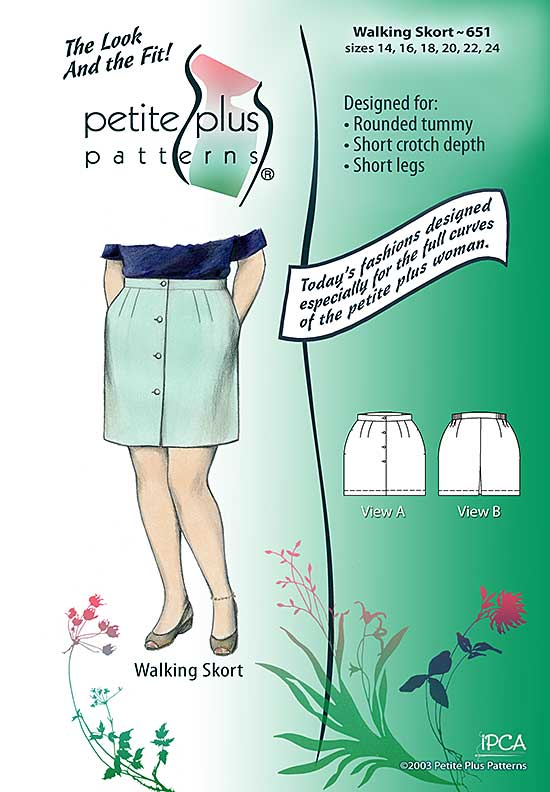 Cover, Petite Plus Patterns 651, Walking Skort, size 14-24, designed for full-figured petites, illustration, flats