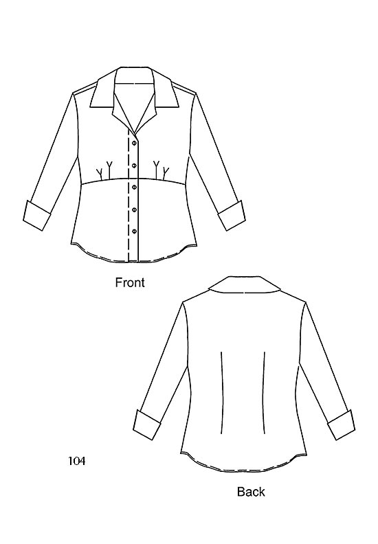 Line drawing, Petite Plus Patterns 104 Shapely Shirt