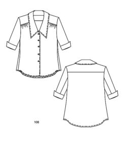 Line drawing, Petite Plus Patterns 108 Yoked Blouse