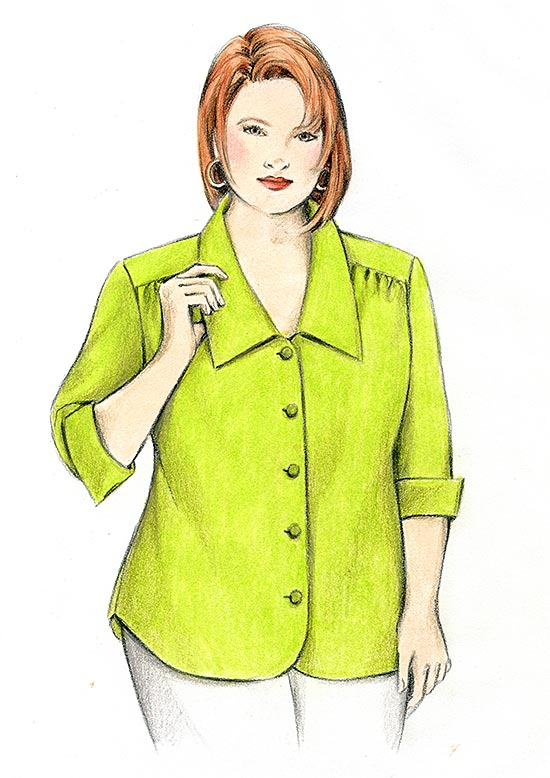 Illustration, Petite Plus Patterns 108 Yoked Blouse