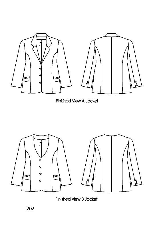 Flats, Petite Plus Patterns 202, Princess Seamed Blazer - View A with collar & 3-button closure, View B with no collar & 4 button closure