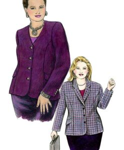 Illustration, Petite Plus Patterns 202, Princess Seamed Blazer - View A with collar & 3-button closure, View B with no collar & 4 button closure