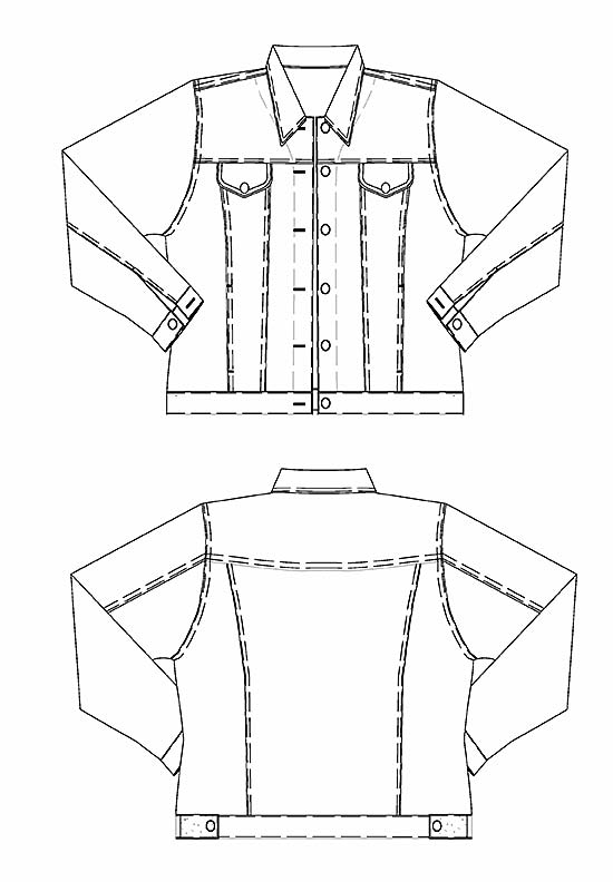 Line drawing, Petite Plus Patterns 204, Jeans Jacket