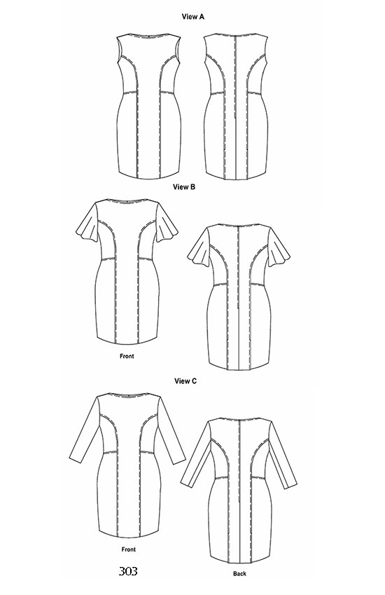 Line drawing, Petite Plus Patterns 303, All-Season Dress, with three sleeve styles