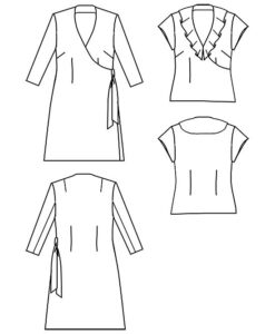 Line drawing, Petite Plus Patterns 304, Easy Wrap Dress & Top