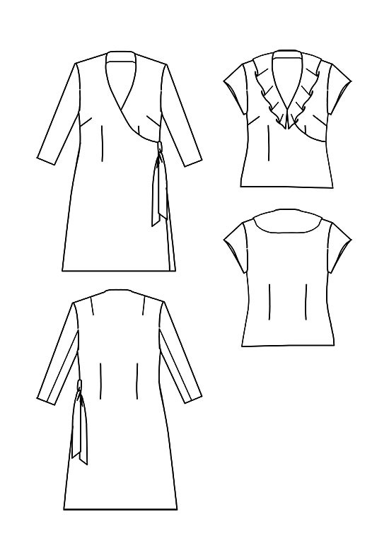 Line drawing, Petite Plus Patterns 304, Easy Wrap Dress & Top