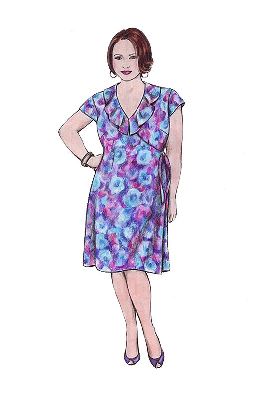 Illustration, Petite Plus Patterns 304, Easy Wrap Dress & Top