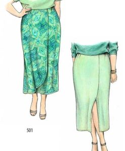 Vented, mock-wrap versions, Petite Plus Patterns 501 Straight Skirts