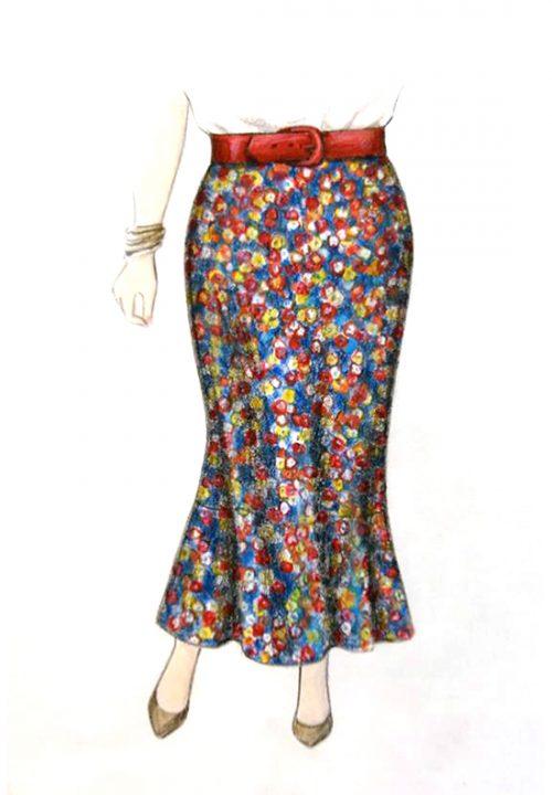 Bias Skirt with Flounce