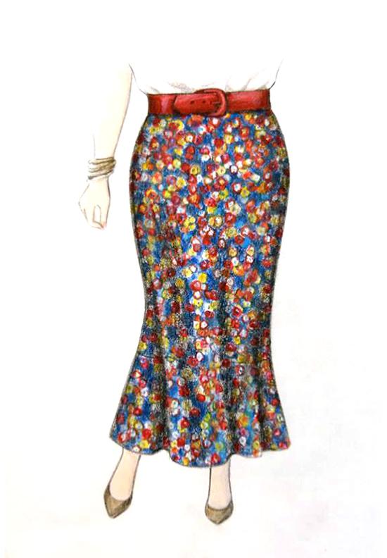 Illustration, Petite Plus Patterns 504, Bias Skirt with Flounce