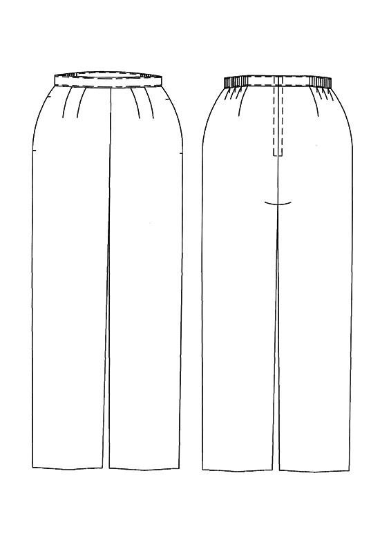 Line drawing, Petite Plus Patterns 601, Flat Front Pant